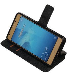 Zwart Hoesje voor Huawei Honor 5c TPU wallet case booktype HM Book