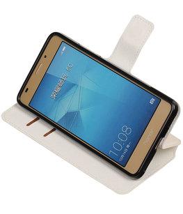Wit Hoesje voor Huawei Honor 5c TPU wallet case booktype HM Book