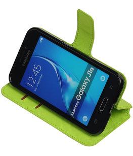 Groen Hoesje voor Samsung Galaxy J1 2016 TPU wallet case booktype HM Book