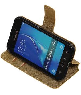 Goud Hoesje voor Samsung Galaxy J1 2016 TPU wallet case booktype HM Book