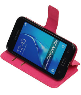 Roze Hoesje voor Samsung Galaxy J1 2016 TPU wallet case booktype HM Book