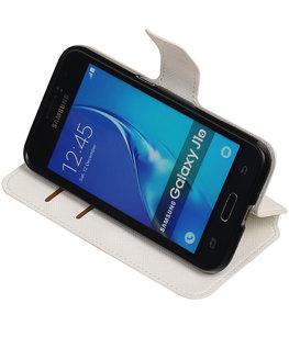 Wit Hoesje voor Samsung Galaxy J1 2016 TPU wallet case booktype HM Book