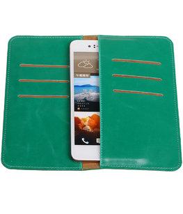 Groen Pull-up Large Pu portemonnee wallet voor HTC