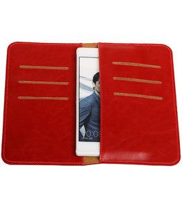 Rood Pull-up Medium Pu portemonnee wallet voor Huawei