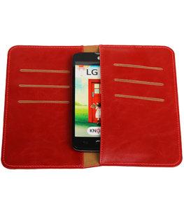 Rood Pull-up Medium Pu portemonnee wallet voor LG
