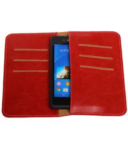 Rood Pull-up Medium Pu portemonnee wallet voor Sony
