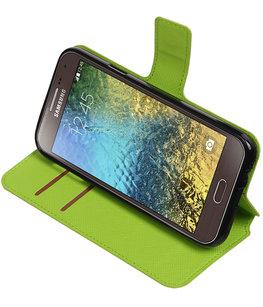 Groen Hoesje voor Samsung Galaxy E5 TPU wallet case booktype HM Book