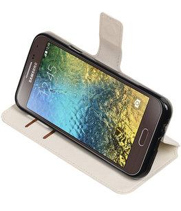 Wit Hoesje voor Samsung Galaxy E5 TPU wallet case booktype HM Book