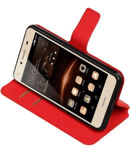 Rood Hoesje voor Huawei Y5 II TPU wallet case booktype HM Book