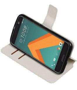 Wit Hoesje voor HTC 10 TPU wallet case booktype HM Book