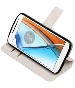 Wit Hoesje voor Motorola Moto G4 / G4 Plus TPU wallet case booktype HM Book