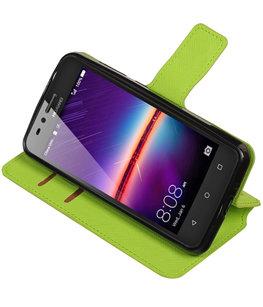 Groen Hoesje voor Huawei Y3 II TPU wallet case booktype HM Book