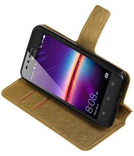 Goud Hoesje voor Huawei Y3 II TPU wallet case booktype HM Book