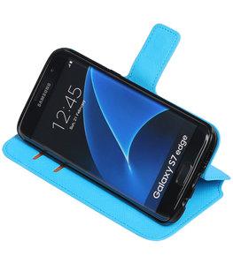 Blauw Hoesje voor Samsung Galaxy S7 Edge TPU wallet case booktype HM Book