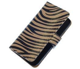 Hoesje voor HTC One M7 Zebra Grijs Booktype Wallet