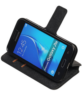 Zwart Hoesje voor Samsung Galaxy J1 2016 TPU wallet case booktype HM Book