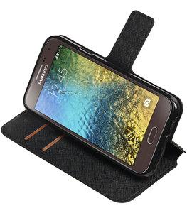 Zwart Hoesje voor Samsung Galaxy E5 TPU wallet case booktype HM Book