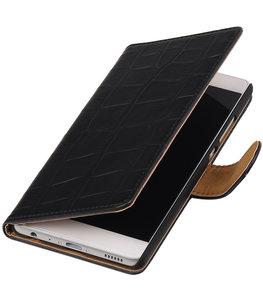 Zwart Krokodil booktype wallet cover voor Hoesje voor Samsung Galaxy J3 Pro