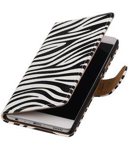 Zebra booktype wallet cover voor Hoesje voor LG X Style