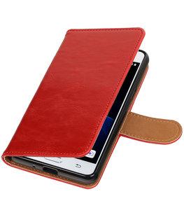 Rood Pull-Up PU booktype wallet voor Hoesje voor Samsung Galaxy J3 Pro
