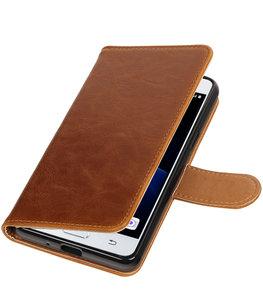 Bruin Pull-Up PU booktype wallet voor Hoesje voor Samsung Galaxy J3 Pro