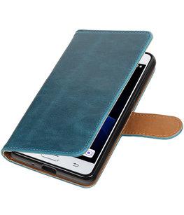 Blauw Pull-Up PU booktype wallet voor Hoesje voor Samsung Galaxy J3 Pro