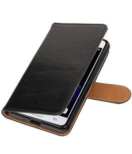 Zwart Pull-Up PU booktype wallet voor Hoesje voor Samsung Galaxy J3 Pro