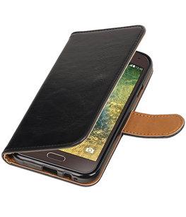 Zwart Pull-Up PU booktype wallet voor Hoesje voor Samsung Galaxy E5
