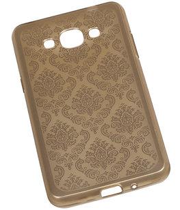 Goud Brocant TPU back case cover voor Hoesje voor Samsung Galaxy J3 Pro