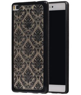 Zwart Brocant TPU back case cover voor Hoesje voor Huawei P8