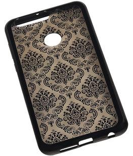 Zwart Brocant TPU back case cover hoesje voor Huawei Honor 8