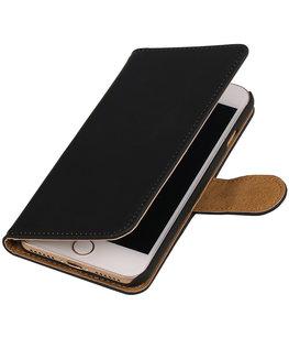 Zwart Effen booktype wallet cover voor Hoesje voor Apple iPhone 7 / 8
