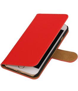 Rood Effen booktype wallet cover voor Hoesje voor Apple iPhone 7 / 8