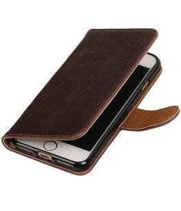 Mocca Pull-Up PU booktype wallet voor Hoesje voor Apple iPhone 7 / 8