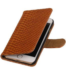 Bruin Slang booktype wallet cover voor Hoesje voor Apple iPhone 7 / 8