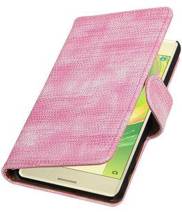 Roze Mini Slang booktype cover voor Hoesje voor Sony Xperia X