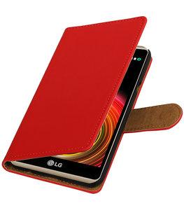 Rood Effen booktype wallet cover voor Hoesje voor LG X Power
