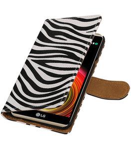 Zebra booktype wallet cover voor Hoesje voor LG X Power