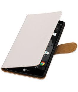 Wit Effen booktype wallet cover voor Hoesje voor LG Stylus 2 Plus