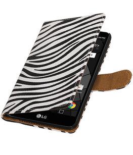 Zebra booktype wallet cover voor Hoesje voor LG Stylus 2 Plus