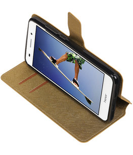 Goud Hoesje voor Huawei Honor Y6 II TPU wallet case booktype HM Book