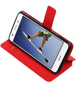 Rood Hoesje voor Huawei Honor Y6 II TPU wallet case booktype HM Book