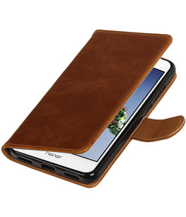Bruin Pull-Up PU booktype wallet voor Hoesje voor Huawei Holly 3 / Y6 II
