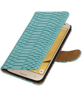 Turquoise Slang booktype wallet cover voor Hoesje voor Samsung Galaxy J2 2016