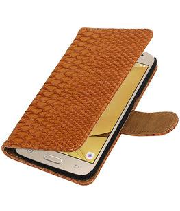 Bruin Slang booktype wallet cover voor Hoesje voor Samsung Galaxy J2 2016