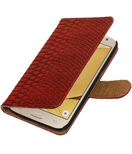 Rood Slang booktype wallet cover voor Hoesje voor Samsung Galaxy J2 2016