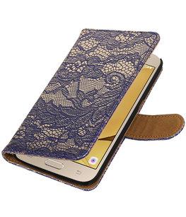 Blauw Lace booktype wallet cover voor Hoesje voor Samsung Galaxy J2 2016