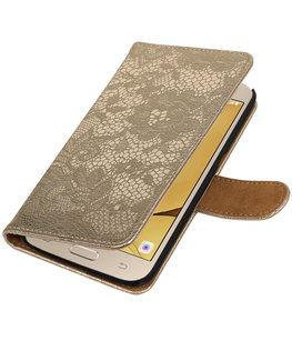 Goud Lace booktype wallet cover voor Hoesje voor Samsung Galaxy J2 2016