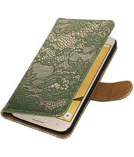 Donker Groen Lace booktype wallet cover voor Hoesje voor Samsung Galaxy J2 2016