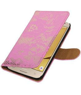 Roze Lace booktype wallet cover voor Hoesje voor Samsung Galaxy J2 2016